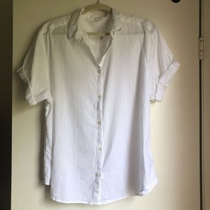 NWT White short sleeve button down shirt